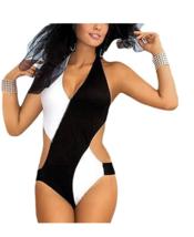 Women's Chic Glamour One Piece Bandage Bikini Monokini Swimsuit XXL BLACK/WHITE - $23.36