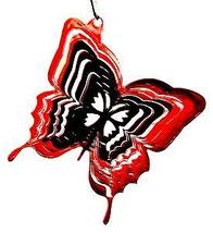 3 in stainless steel red butterfly USA 3D hanging garden wind spinner, spinners - $9.00