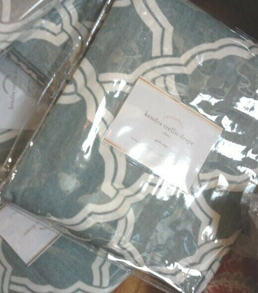 Primary image for Pottery Barn Set 2 Kendra Drape Porcelain Blue 50x108 Curtain Fretwork Pair