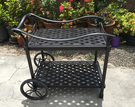 Outdoor Tea Cart Patio Furniture Cast Aluminum Bronze image 1