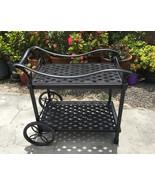 Outdoor Tea Cart Patio Furniture Cast Aluminum Bronze - $420.75