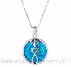 Sterling Silver MESSIANIC Pendant Necklace Blue OPAL Grafted Jerusalem S... - $37.31