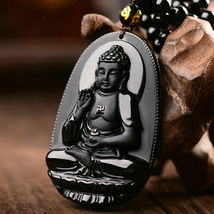 Black Natural A Obsidian Carved Buddha Pendant Rope with Chain - Random design image 5