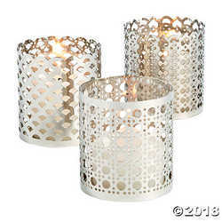 Silver Ornate Candle Holder Set