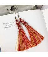 Red fringe tassel earrings, long tassel earrings, beaded earrings silk t... - $32.30