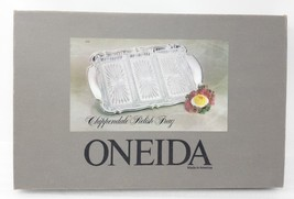 """Oneida Chippendale Silverplated Relish Dish with Glass Liners 14 3/4"""" 4737 - $29.69"""