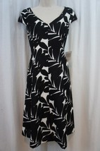Anne Klein Dress Sz 4 Black Multi Camellia Cap Sleeve A Line Business Di... - $49.44