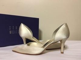 Stuart Weitzman Twice Platinum Raso Women's Evening High Heels Pumps Siz... - $123.85
