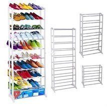 Durable 30 Pair 10 Tiers Shoe Tower Rack Shelf Storage Closet Cabinet Or... - $33.61 CAD