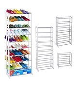 Durable 30 Pair 10 Tiers Shoe Tower Rack Shelf Storage Closet Cabinet Or... - £19.02 GBP