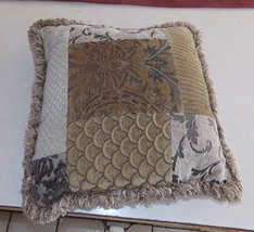 Brown Beige Abstract Print Decorative Throw Pillow - $39.95