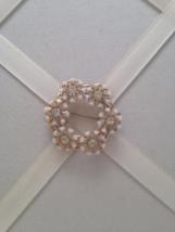 Vintage White Bakelite Crystal Rhinestone Flower Wreath Fashion Brooch - $25.00