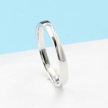 Minimalism 14K White Gold Men Engagement Wedding Ring Band Introverted Love image 2