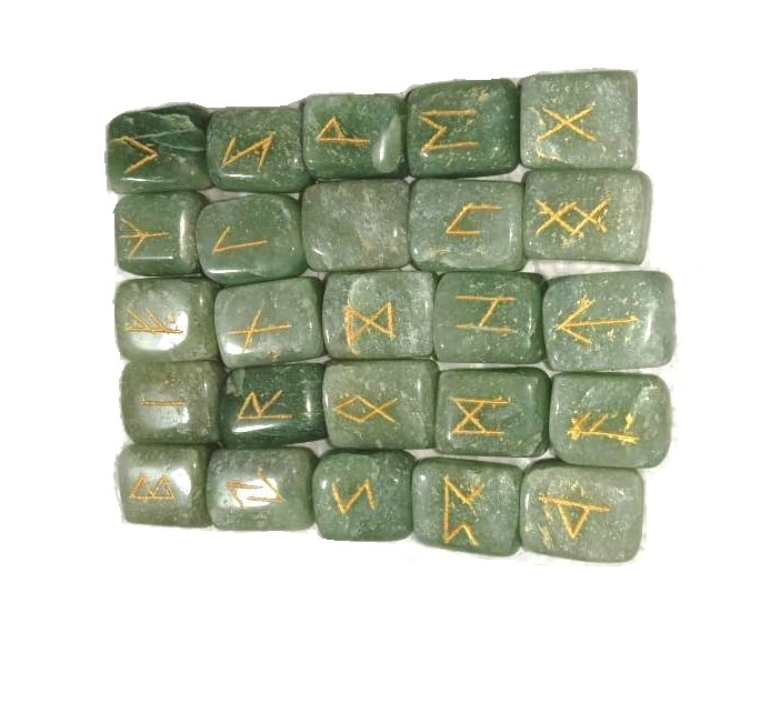 Primary image for Green Jade Rune Set Symbols Gemstone Healing Crystal Runes 25 Pcs with Pouch