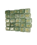 Green Jade Rune Set Symbols Gemstone Healing Crystal Runes 25 Pcs with P... - $17.99