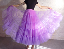 Women A Line Layered Tulle Skirt Outfit Plus Size Full Tiered Ruffle Tulle Skirt image 5