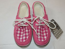 Womens crocs Hoover boat Gingham Hot Pink canvas loafer shoes W 6 boat shoe ^ - $34.52