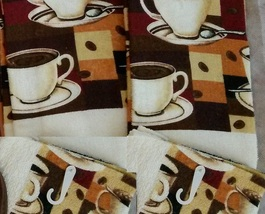 COFFEE KITCHEN SET 4pc Towels Dishcloths Cups Patchwork Brown Orange Bea... - $9.99