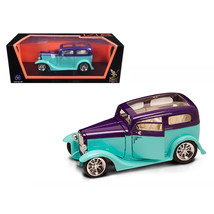 1931 Ford Model A Sedan Green/Purple 1/18 Diecast Model Car by Road Sign... - $78.35