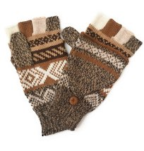 Alpaca flip back mitten gloves. Elegant and warm! Unisex. (Brown Tweed) - $474,56 MXN+