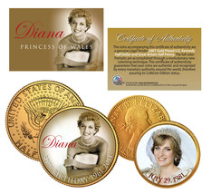 PRINCESS DIANA * 50th Birthday * British Half Penny & JFK Half Dollar 2-Coin Set - $12.82