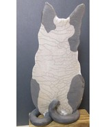 "Large Heavy Hand Made Sculpture Cat Crackle Glaze Signed 14"" - $54.40"