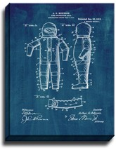 Fire-protection Suit Patent Print Midnight Blue on Canvas - $39.95+