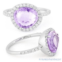 2.66 ct Fancy Amethyst Gem Round Cut Diamond Halo Right-Hand Ring 14k Wh... - €966,38 EUR