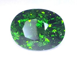 Certified 4.19 cts stunning top green Natural Chrome Tourmaline oval shape - $1,030.00
