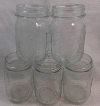 NN85 Lot of 5 Vintage MASON BALL Canning Jars - Fruit Bunch Design - $19.79