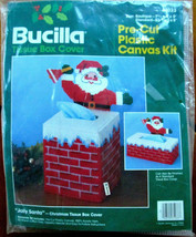 Bucilla Jolly Santa Plastic Canvas Tissue Box Cover 61033 Christmas Chimney  - $15.95