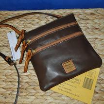 Dooney & Bourke Triple Zip Calf Leather Crossody NWT Brown image 3