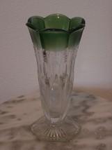 EAPG U.S. Glass Michigan Green Flashed White Enamel Vase - $116.88