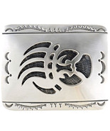 Longmire Style Sterling Silver Belt Buckle Bear Paw Overlay Navajo Tom A... - $375.00