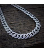 Mens Iced Out Lab Diamond White Gold Cuban Link Chain Necklace - £139.28 GBP