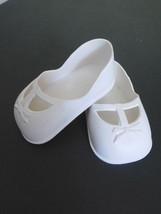 """Vintage White Vinyl Slip on 3.75"""" Shoes 4 Large Doll Stamp """"31"""" Old Stor... - $7.99"""