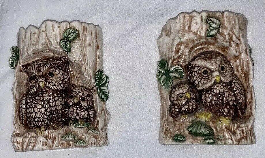 Owl Ceramic in Tree Wall Hanging Vintage Set of 2