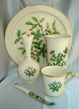Lot (5 Pcs) Lenox Holly Berry/Gold Dimension Holiday Platter, Mug, Knife & Vases - $48.90