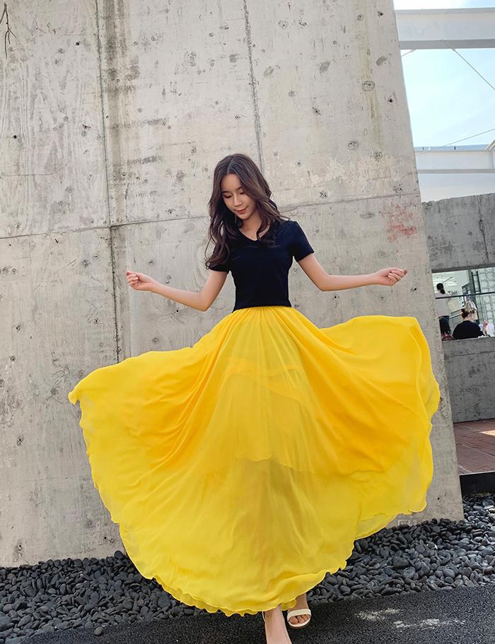 Yellow chiffon skirt 3