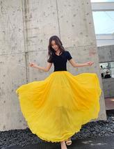 Floor Length Chiffon Maxi Skirt Bridesmaid Skirt,Green Yellow Red, High Waist image 8