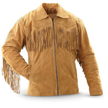 QASTAN's New Cowboy Men's Tan Western Cow Leather Fringed Coat  FJ06 - $159.00+