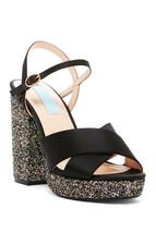 New Betsey Johnson Sandals Heels Glitter Black Satin Womens 6.5 Blue Pin... - $129.00