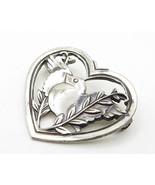 CORO 925 Sterling Silver - Vintage Bird & Open Love Heart Brooch Pin - B... - $61.73