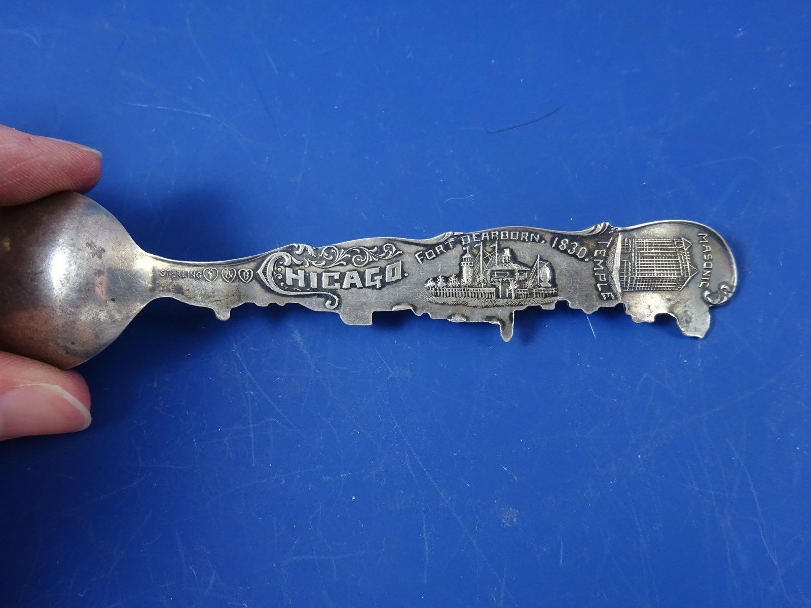 Ft. Dearborn  Souvenir Spoon Sterling Silver  Chicago, ILLINOIS image 4
