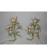"""Great Pair 8"""" Shabby Toleware Flowers Candle Holders - $173.97"""