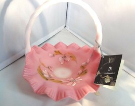 Fenton Art Glass Handpainted Rosalene Basket Vase MIB 4178Z1 - $125.00