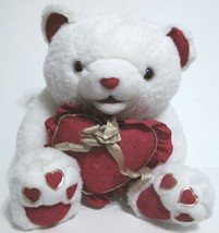 Plush Bear White & Red with Red Heart - $7.14