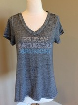Mineral Wash Look Graphic Tshirt Gray Vneck Top M Women Short Sleeve Wee... - $19.99