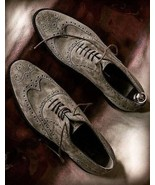 Men Gray Suede Wing Tip Oxford Formal Decent Lace Up Shoes - $156.73