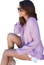 Lilac Bamboo Lace up Blouse - $13.78